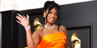 Megan Thee Stallion at the 63rd Annual Grammy Awards in Mrach.