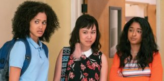 """Lee Rodriguez, Ramona Young, and Devi Vishwakumar in """"Never Have I Ever"""""""