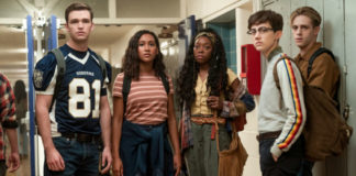 """Sydney Park, Burkely Duffield, Asjha Cooper, Dale Whibley, and Jesse LaTourette in """"There's Someone Inside Your House"""""""